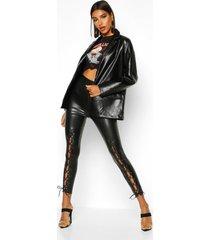 premium broek met leren look en vetersluiting aan de voorkant, zwart