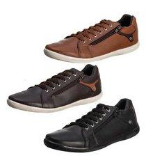 conjunto 3 sapatênis masculino confortável super leve - ro01