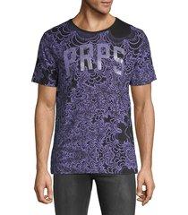 prps men's fun print crewneck t-shirt - black purple - size s