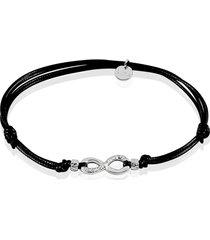 bracciale infinito con cordino e argento 925 rodiato per donna