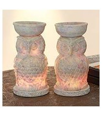 soapstone oil warmers, 'lucky owls' (pair) (india)