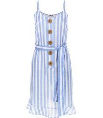 vestido en lino estampado color blanco, talla 10