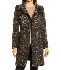women's via spiga wool print long coat, size 10 - brown
