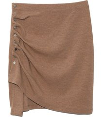 ruched skirt in camel jersey