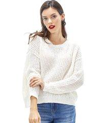 sweater calado mujer ecru corona