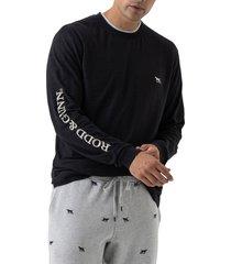 men's rodd & gunn broadford embroidered long sleeve t-shirt, size xxx-large - black