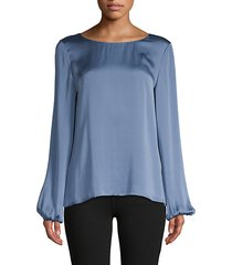 solid silk blouson top