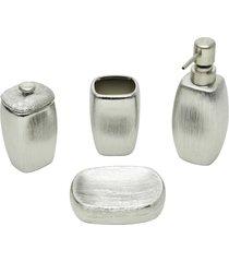 conjunto 4 peças p/banheiro de cerâmica lux silver