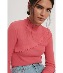 na-kd stickad tröja med babylockdetalj - pink