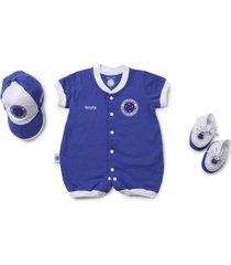 kit reve d'or sport macacão, boné, sapatinho cruzeiro branca e azul royal