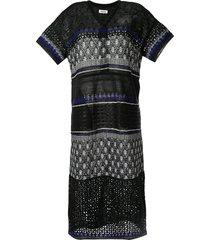 coohem embossed eyelet knit dress - black