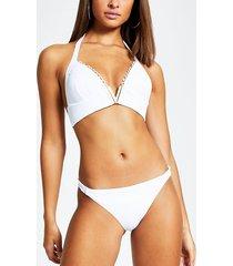 river island womens white ribbed v neck triangle bikini top