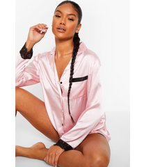 mix & match eyelash trim satin shirt, rose gold