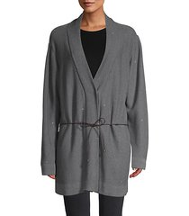 belted cotton-blend cardigan