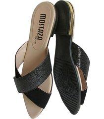 sandalia cruzada negra