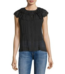 dree silk-blend eyelet-trimmed top