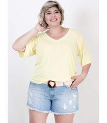blusa mari malpighi tshirt decote v malha podrinha amarela