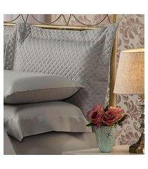fronha para travesseiro 50x150cm matelasse soft touch cinza plumasul