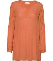 amber v-neck tunic blus långärmad orange kaffe