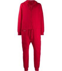 katharine hamnett london zip-through hooded jersey boiler suit - red