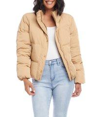 women's karen kane down puffer jacket, size x-large - beige