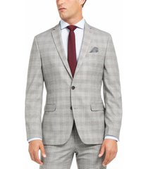 bar iii men's slim-fit active stretch performance black/white houndstooth plaid suit separate jacket, created for macy's