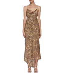 'harmony' drape collar slit front asymmetric slip midi dress