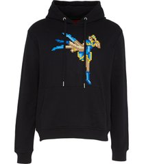 textured kicking fighter print unisex hoodie