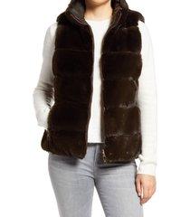 women's via spiga faux fur reversible vest, size small - green