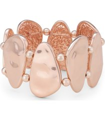 style & co rose gold-tone hammered shell stretch bracelet, created for macy's