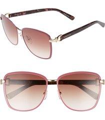 longchamp 58mm metal sunglasses in gold/rose at nordstrom