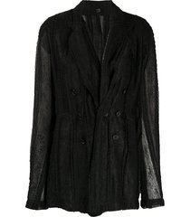 ann demeulemeester semi-sheer blazer jacket - black