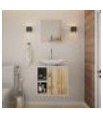 conjunto para banheiro gabinete com cuba folha l38 e espelheira soft 500 branco com carvalho