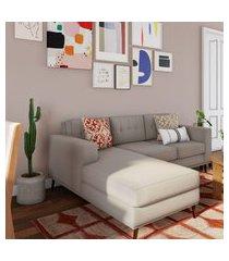 sofá 3 lugares live com chaise esquerdo pé palito linho cotton cru