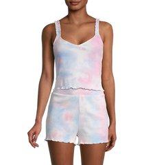 bcbgeneration women's ribbed tie-dye cropped tank top - white tie dye - size m