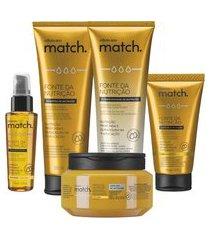 combo match fonte da nutrição fios finos: shampoo + condicionador + máscara capilar + creme para pentear + óleo capilar