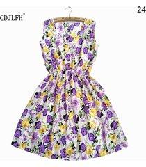 2017 summer women beach dress sleeveless round neck bohemian floral vest printed