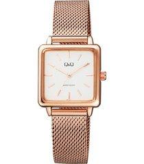 reloj q&q qb51j011y para dama lujoso oro rosa/ blanco