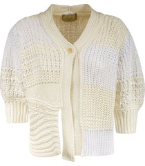 maison flaneur single-button knitted cropped cardigan