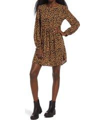 women's bp. print long sleeve dress, size x-large - brown