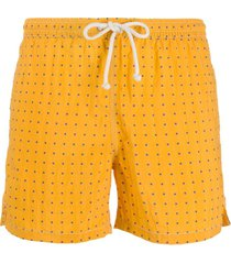 kiton short de natação com estampa de poás - amarelo