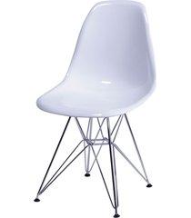 cadeira dkr policarbonato e base de metal huron – branca