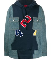 424 panelled patch pocket hoodie - blue