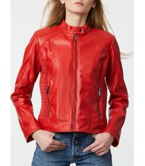 bernardo faux-leather zip front moto coat