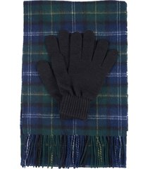 men's barbour tartan wool scarf & gloves set, size one size - blue