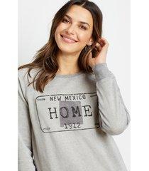 maurices womens gray new mexico crew neck sweatshirt