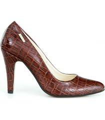 skórzane szpilki zapato 035 brąz cz. kroko