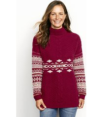 alpine fair isle and cable turtleneck sweater, x large