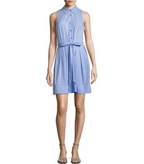 sleeveless pleated shirt dress