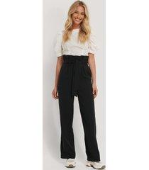 na-kd trend maxi paperwaist suit pants - black